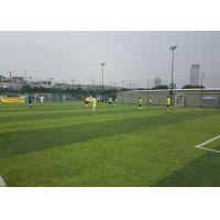 Healthy Flat Artificial Football Turf Lively Olive Color Solid Backing 50mm Height