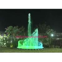 China Musical Up Down Spray Water Fountain Project With RGB LED Color Changing 2 Rings And Middle Spray wholesale