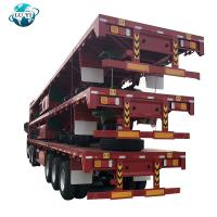 Buy cheap 3 Axle flatbed platform semitrailer for 20ft 40ft container transport product