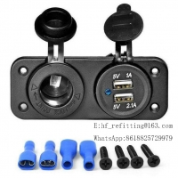 Buy cheap 12V Power Socket Dual USB Port Socket Charger with Two hole panel for Car Boat Motorcycle product