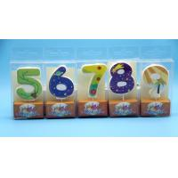 Lovely 0-9 Number Birthday Candles Set With Glitter Decoration Smokeless for sale
