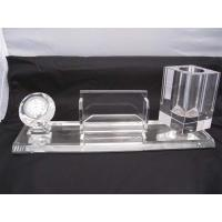 China personalized crystal office stationery table set with clock for business gifts on sale