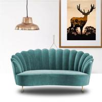 Buy cheap Modern Leisure Golden Stainless Steel Legs Embered Green fabric Lounge Sofa 2-3 seater for Hotel Living room product