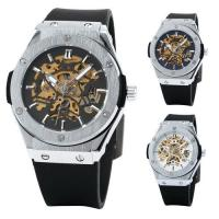 Buy cheap Skeleton Mechanical Mens Automatic Watch Winner , Black Rubber Watch  product
