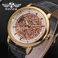 Buy cheap Winner Fashion Mens Wrist Watches Leather Strap Mechanical Aad Stainless Steel Clasp product