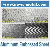 Hoja grabada en relieve estuco de aluminio