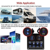 Buy cheap Waterproof Auto car RV Marine boat Rocker Switch Panel with Digital Voltmeter 12V Cigarette Socket Double USB charger product