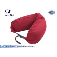 China Promotional Gift Red Memory Foam Pillows For Car / Train , Microbeads Material wholesale