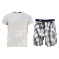 Buy cheap Cotton Jersey Men'S V Neck Pajamas / Mens T Shirt And Woven Shorts Pyjamas With Side Pockets product