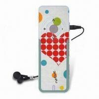 China Promotional Flash MP3 Player with Built-in Battery, CMYK Printing for Color Watermark on sale