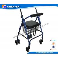 Buy cheap Aluminum 4 Wheel rolling walker with seat and Brakes for patient Rehabilitation product