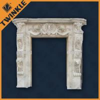 Buy cheap White Marble Stone Door Surrounds With Statue , Pure Handmade Carving product