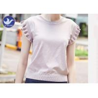 Buy cheap Sweet Ruffle Drop Short Sleeves Womens Knit Pullover Sweater Stripes Summer from wholesalers