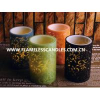 China Flameless 2 Layer Carved LED Pillar Candles , Safety Colorful Unique Design LED Candles wholesale
