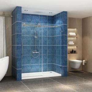 China Stainless steel frameless sliding shower glass door shower enclosure on sale