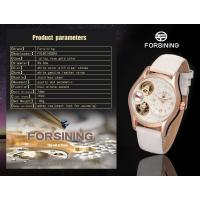 Buy cheap White Dial Ladies Automatic Watch With Inlay Diamond Black Band product