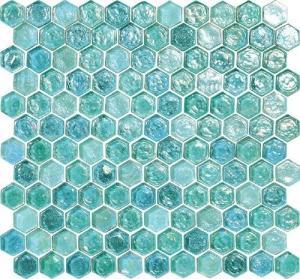 Buy cheap Шестиугольник плитки мозаики зеленого открытого моря развевая стеклянный для вашего сада product