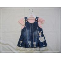 China 2012 Fashion Design 2 Piece Jean baby Girl Dress coats With Cotton Cap  on sale