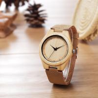 Buy cheap Classical Wood Dial Retro Wood Leather Watch With Quartz Movement from wholesalers