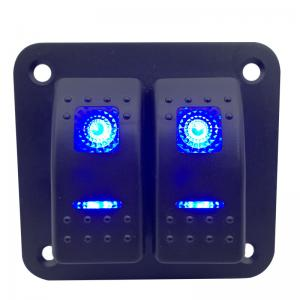 Buy cheap Waterproof 2 gang 12V-24V Rocker Switch Panel Blue LED ON-OFF Rocker Switch For Car Boat Yacht RV product