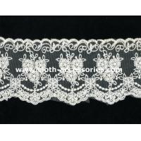Buy cheap 100 Cotton Lace Fabric For Dressmaking / Double Edged Scalloped Lace Trim product
