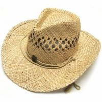 Buy cheap Summer Unisex Woven Straw Cowboy Hats With Fedora Band Outdoor Protecting product