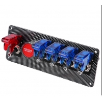 Buy cheap 6 in 1 Racing Car Red Red LED Toggle Ignition Switch Panel Engine Start Push Button 12V product