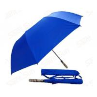 Buy cheap Light Blue Foldable Golf Umbrella Fibreglass Ribs Bamboo Handle 14mm Steel Shaft from wholesalers