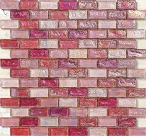 Buy cheap Telha de mosaico de vidro de ondulação elegante da água vermelha da rosa para a decoração do boutique product