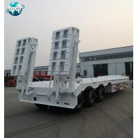 Buy cheap High quality 3 axle lowbed lowboy semi trailer with double hydraulic folding ladder product