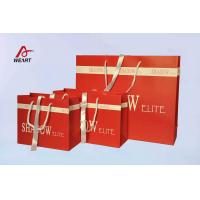Buy cheap Red Art Paper Bags / Colored Paper Gift Bags Middle Hole Glued White Ribbon product