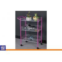 Buy cheap Pink PE Coated Tube Home Storage Racks with White Wire and Wheels 3 Tiers product