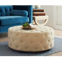 Buy cheap Ottoman Modern Wood Coffee Table Button Tufting Round Upholstery Bench product