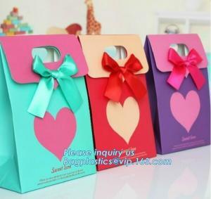 China paper carrier bag,kraft paper bag,craft paper bag manufacturer,Printing Logo Paper Carrier Bag with Bowknot and Handle f on sale