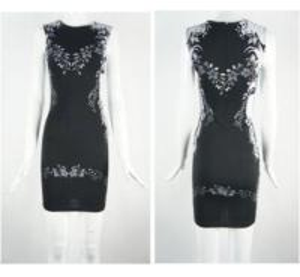 China Bodycon Dress  (white Floral Print   Cotton Knitting Dress) on sale