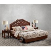 Buy cheap Leather / Fabric Upholstered Headboard Bed for Hotel Bedroom interior Furniture with Wooden nighstand in Cheap price product