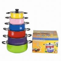 Buy cheap Stainless Steel Cookware Set, Includes with Various Colors Pot, Glass Lid, Bakelite Handle and Knob product
