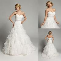 Buy cheap A line Beaded Organza Sweetheart Wedding Dresses Strapless Ball Gowns product