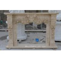 China Galala Beige Marble Fireplace on sale