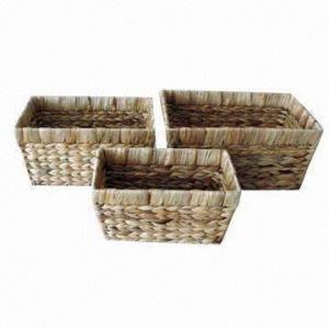 Panier naturel de stockage de feuille de Cattail pour stocker des livres et des jouets, disponible dans diverses conceptions