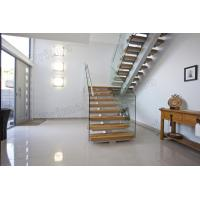 Buy cheap Mono Stringer Solid Wood Treads Staircase Glass Balustrade Stairs product