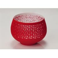 Buy cheap Red Votive Porcelain Candle Holder Bowl / Hollow Ceramic Candle Houses product