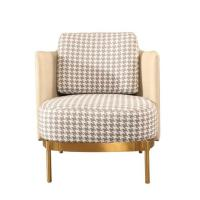 Buy cheap Modern Design Leisure Stainless Steel Swallow Gird PU leather upholstery Arm chair Sofa chair for Hotel Living room product