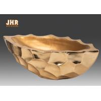 China Gold Leafed Fiberglass Flower Serving Bowl Decorative Table Vases Boat Shape on sale