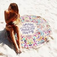 China New Beach Cover Up Round Tassel Cotton Pareo Beach Coverup Beach Mat Shawl Yoga Mat Letter Sarong Cloak Bathing Suit on sale