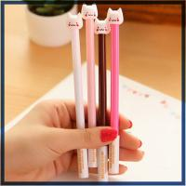 customized yiwu stationery cat plastic ball-point pen office&school beautiful cheap funny pen