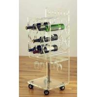 Buy cheap Clear Acrylic Rolling Two Shelf Pure Acrylic Tea Serving Cart with Casters Acrylic Dining Serving Cart with Wheels product