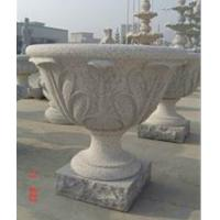 Buy cheap Flowerpot with Leaf Status, Grey Granite Flower Bed product