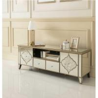 Fogging Pattern Mirrored TV Console , Living Room 2 Doors Mirrored TV Cabinet