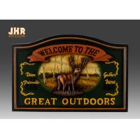 Buy cheap Hunting Club Wall Sign Antique Wooden Wall Plaques Animals Wall Art Signs Resin Deer product